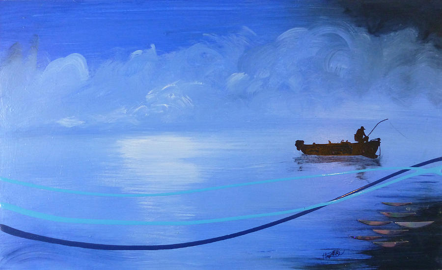 Bass Fishing Painting - Blue Lagoon by Jack Hanzer Susco