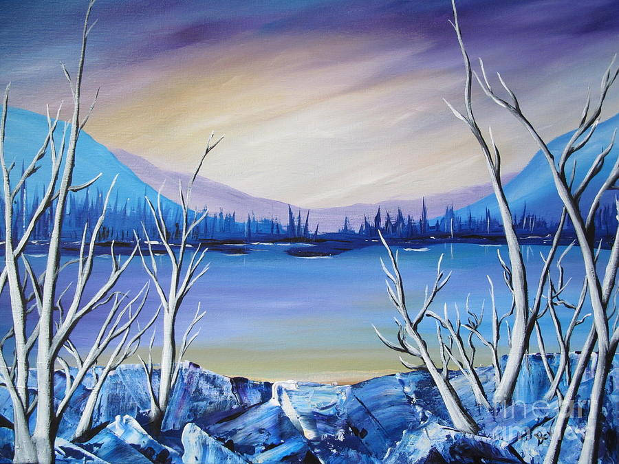 Water Prints Painting - Blue Lake by Beverly Livingstone