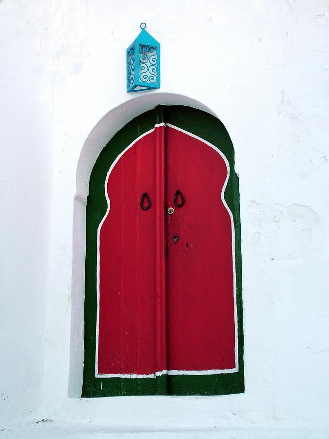 Blue Lantern Over Red Door Photograph