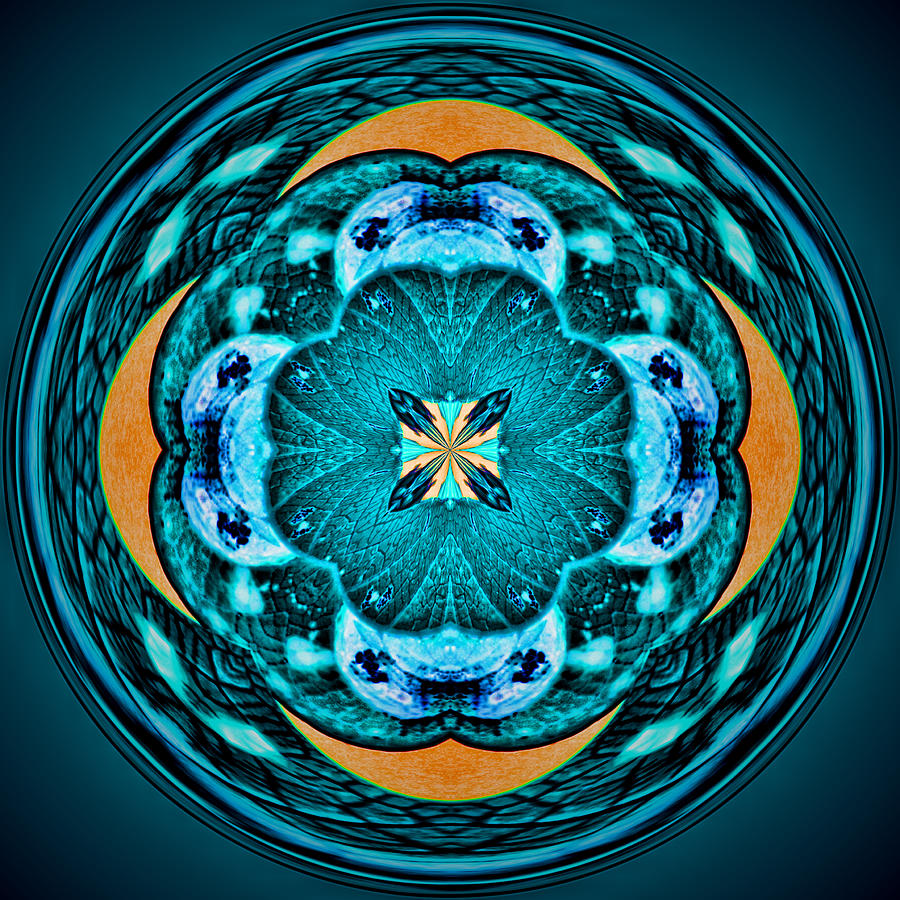 Mandala Photograph - Blue Leaf Mandala Kaleidoscope by Beth Sawickie