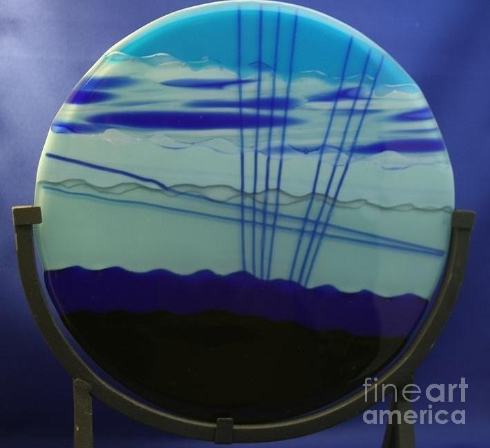 Fused Glass Glass Art - Blue Lights by Gaby Tench