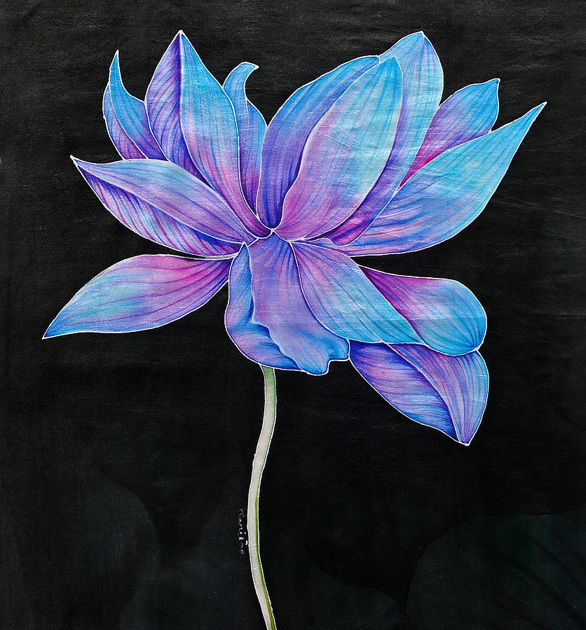 Blue Lotus Painting By Manisha Singh