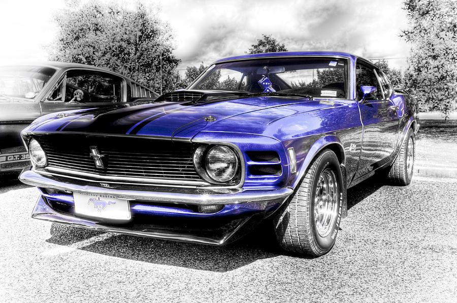 Blue Ford Mustang Photograph - Blue Mach 1 by motography aka Phil Clark