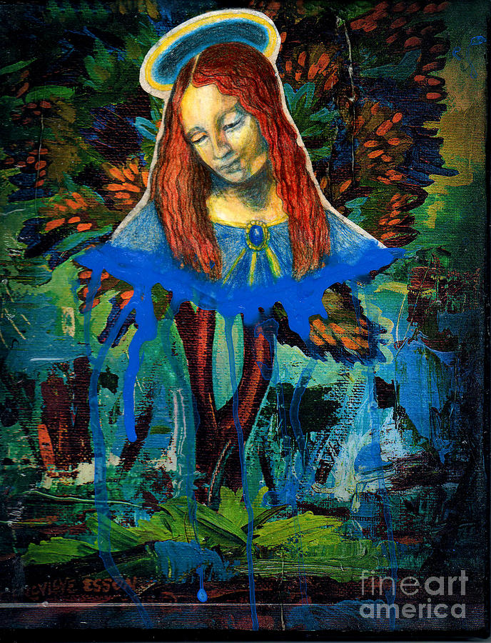 Mary Painting - Blue Madonna In Tree by Genevieve Esson