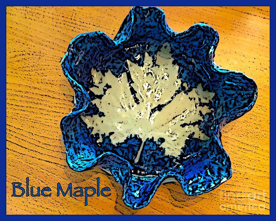 Ceramic Designs Ceramic Art - Blue Maple Leaf Dish 2 by Joan-Violet Stretch