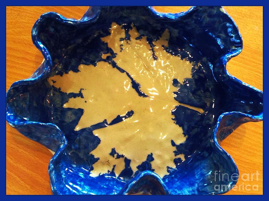Maple Leaf Ceramic Art - Blue Maple Leaf Dish by Joan-Violet Stretch