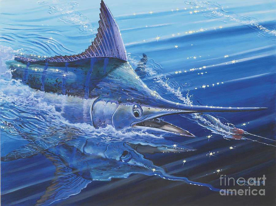 Blue Marlin Painting - Blue Marlin Strike Off0053 by Carey Chen