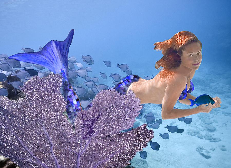 Mermaid Photograph - Blue Mermaid by Paula Porterfield-Izzo