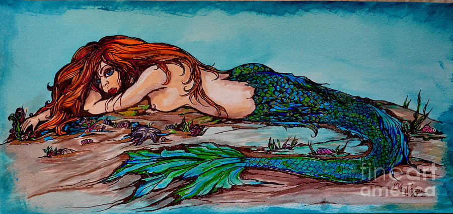 Pen Drawing - Blue Mermaid by Valarie Pacheco