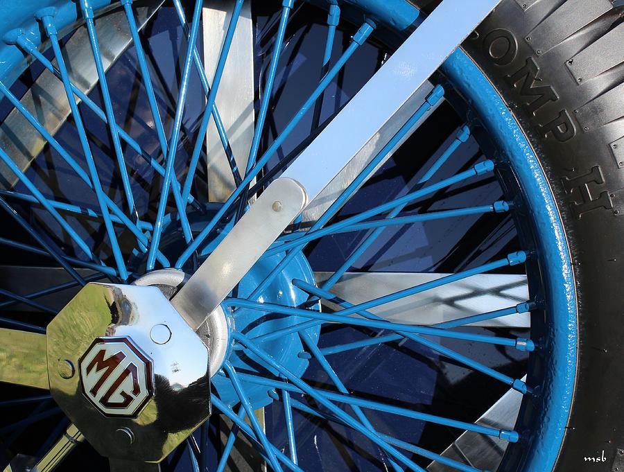 Auto Photograph - Blue Mg Wire Spoke Rim by Mark Steven Burhart