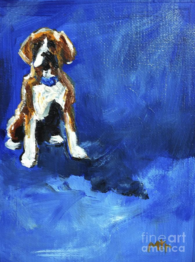 Boxer Dog Painting - Blue Monday by Marias Watercolor