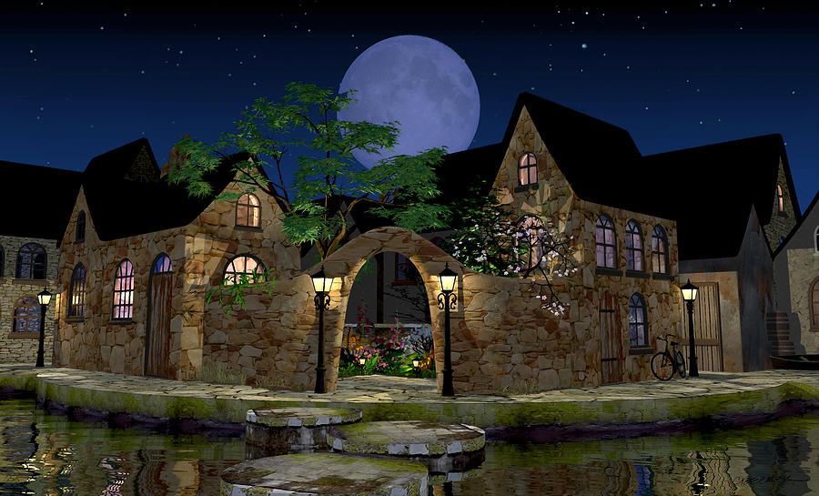 Village Digital Art - Blue Moon by Cynthia Decker