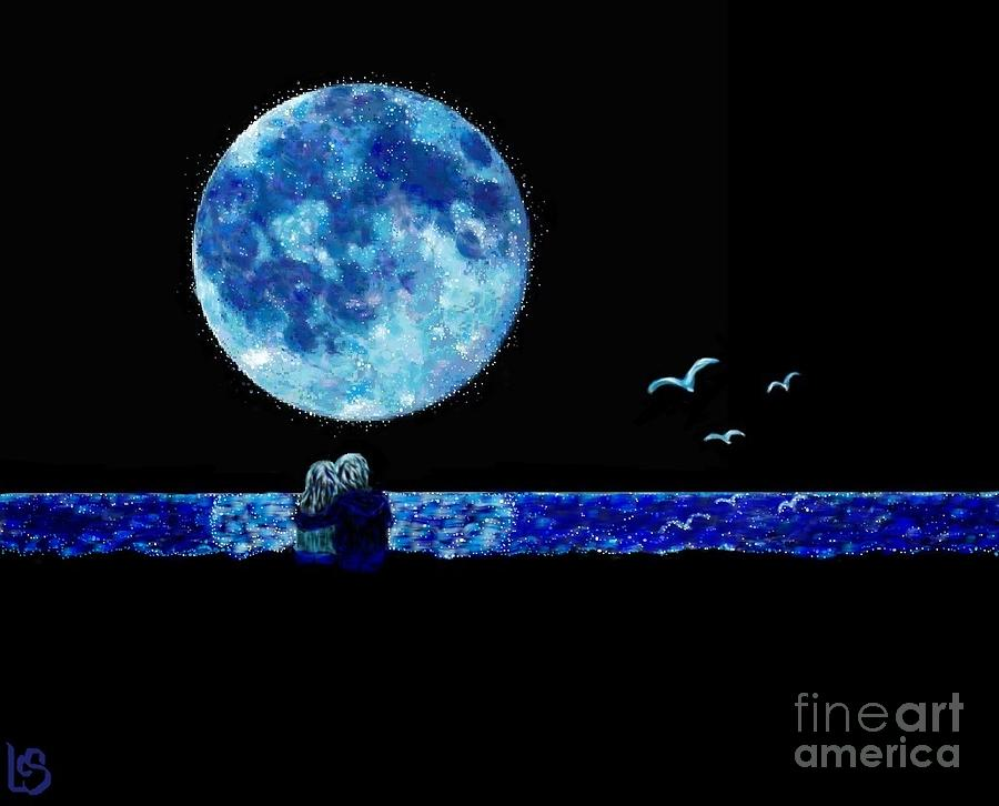 Moon Painting - Blue Moon by LCS Art