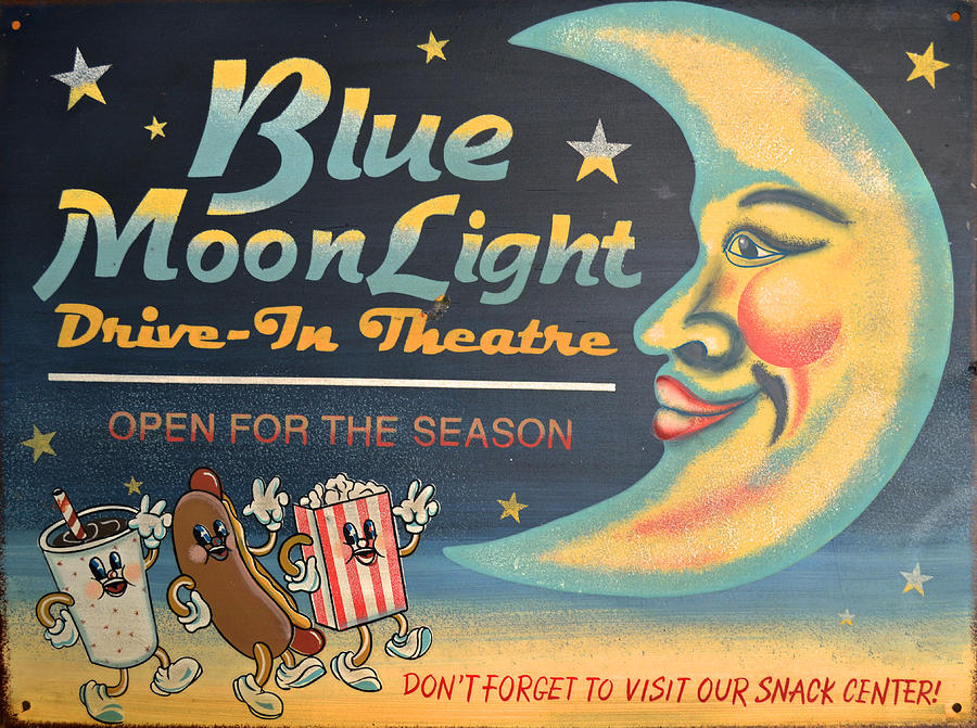 Drive-in Theater Photograph - Blue Moon Light by Sherry Dooley