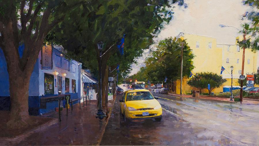 University Of Virginia Painting - Blue Moon On A Rainy Day by Edward Thomas