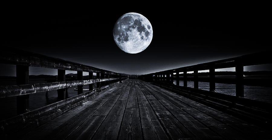 Moon Photograph - Blue Moon by Paulina Szajek