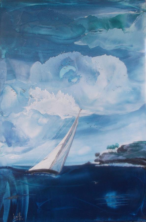 Encaustic Painting - Blue Moon Sail by Danita Cole