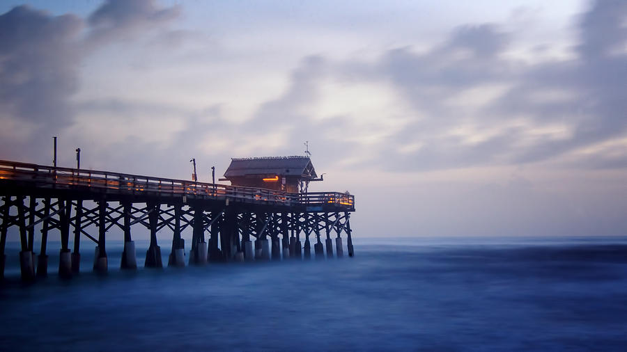 Cocoa Beach Photograph - Blue Morning At Cocoa Beach Pier by Vicki Jauron