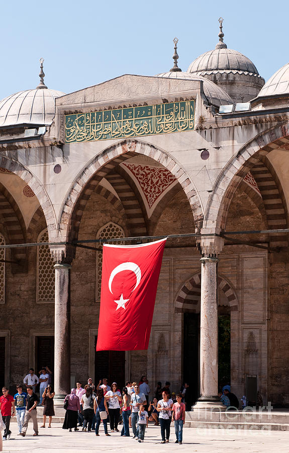 Istanbul Photograph - Blue Mosque Courtyard Portico by Rick Piper Photography