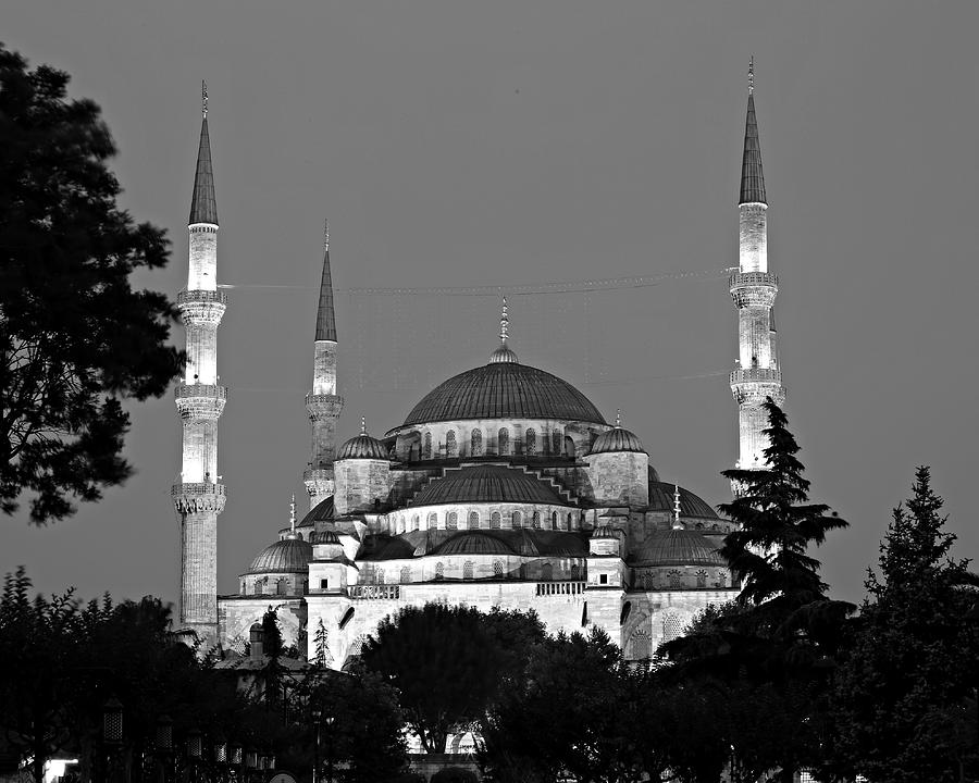 Ancient Photograph - Blue Mosque In Black And White by Stephen Stookey