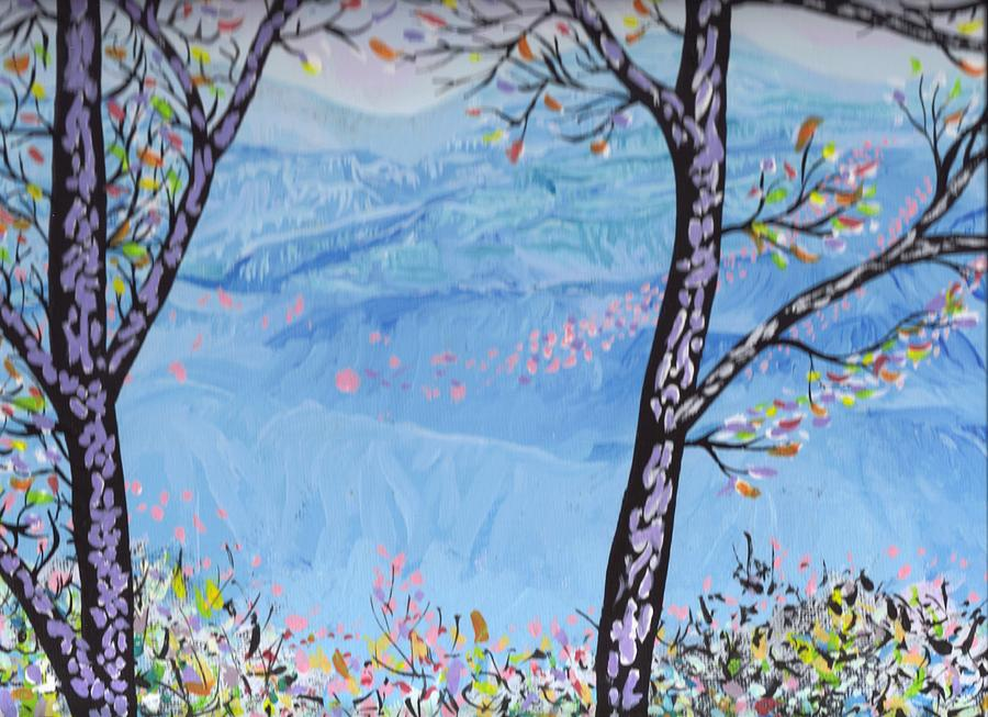 Landscapes Painting - Blue Mountains And Fall Trees by Richard Erickson