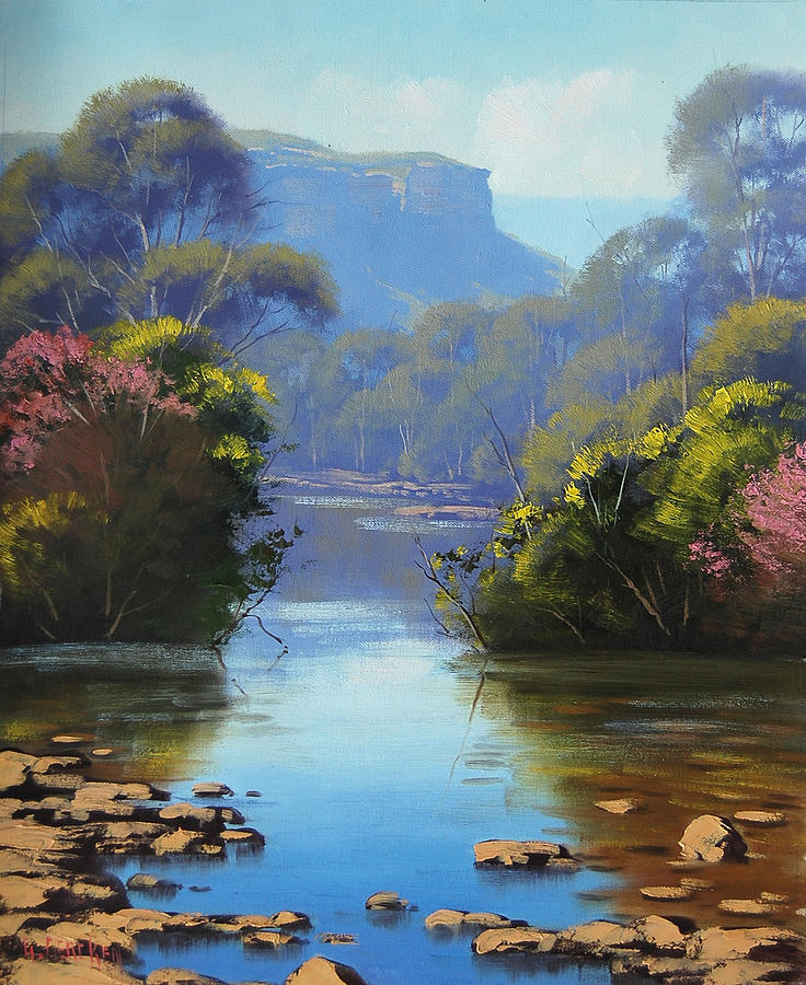 River Painting - Blue Mountains River by Graham Gercken