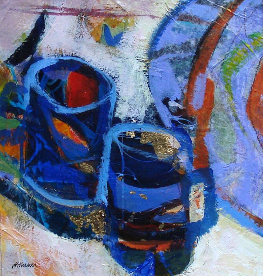 Still Life Painting - Blue Mugs by Dale  Witherow