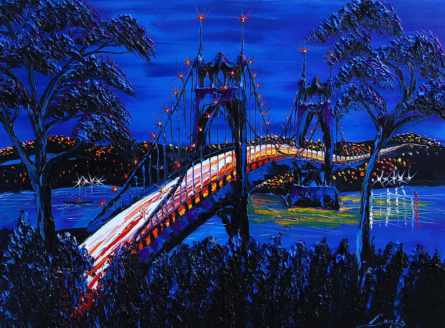 Painting - Blue Night Of St. Johns Bridge 12 by Portland Art Creations