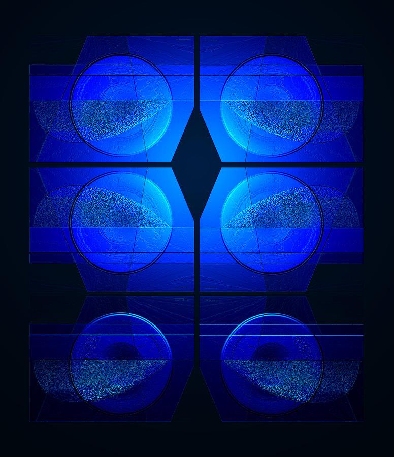 Abstract Blue Circles Digital Art - Blue Night by Steve Godleski