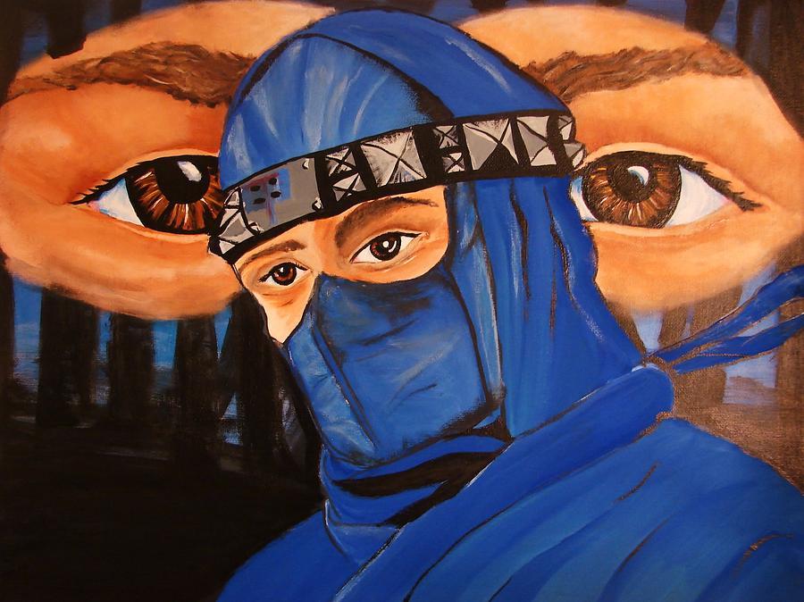 Blue Ninja Painting - Blue Ninja by Lorinda Fore