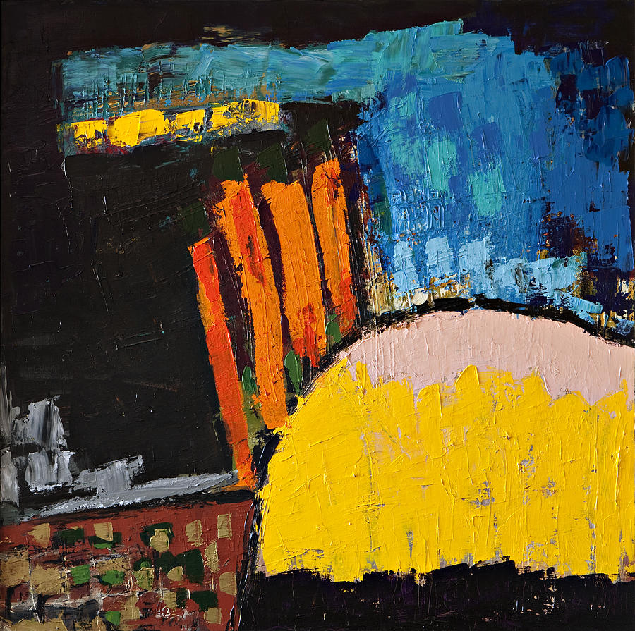 blue orange and yellow abstract painting by maggis art. Black Bedroom Furniture Sets. Home Design Ideas