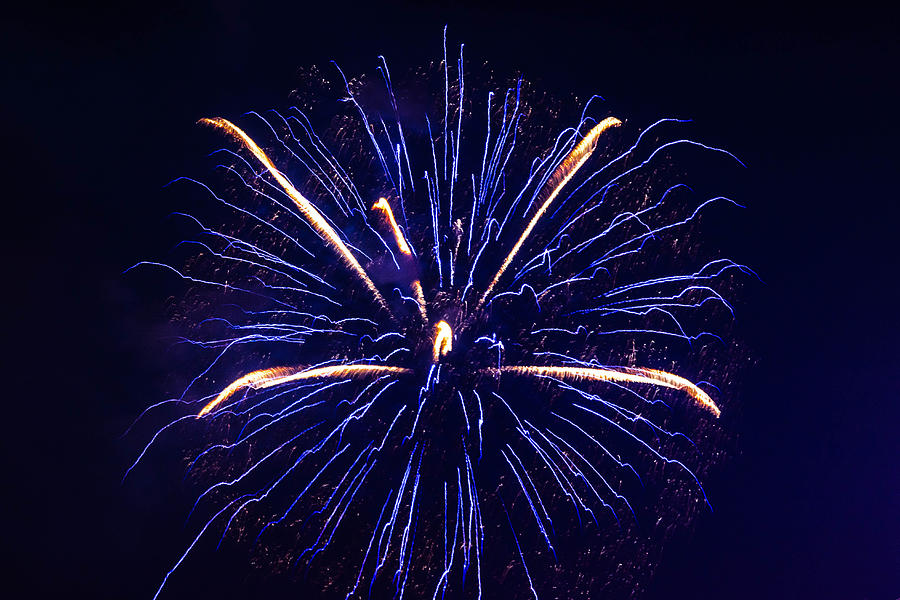 July 4th Photograph - Blue Orange Fireworks Galveston by Jason Brow