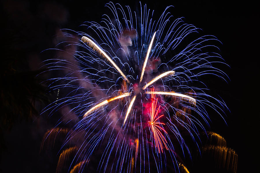 Blue Photograph - Blue Orange Red Fireworks Galveston by Jason Brow