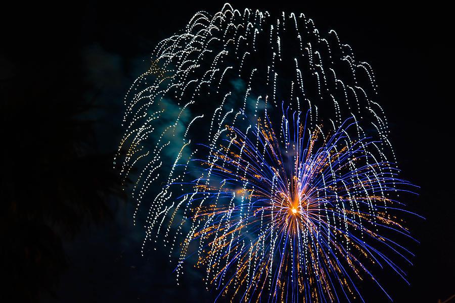 Galveston Photograph - Blue Orange White Fireworks Galveston by Jason Brow