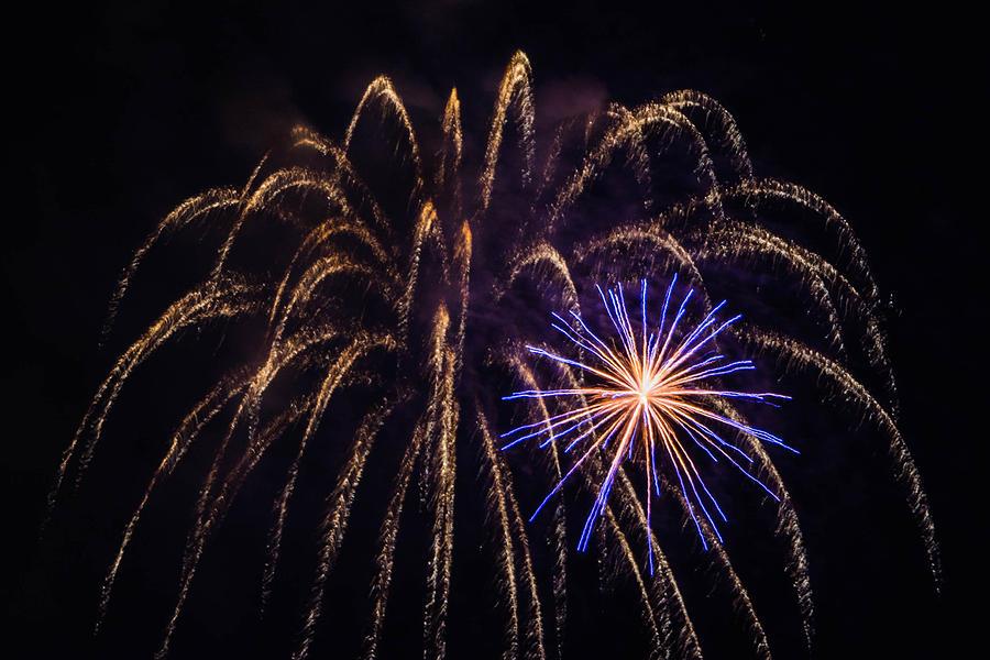 Galveston Photograph - Blue Orange Yellow Fireworks Galveston by Jason Brow