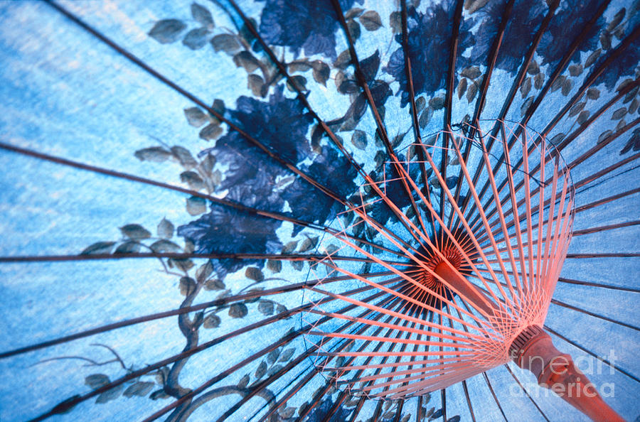 Umbrella Photograph - Blue Ornamental Thai Umbrella by Heiko Koehrer-Wagner