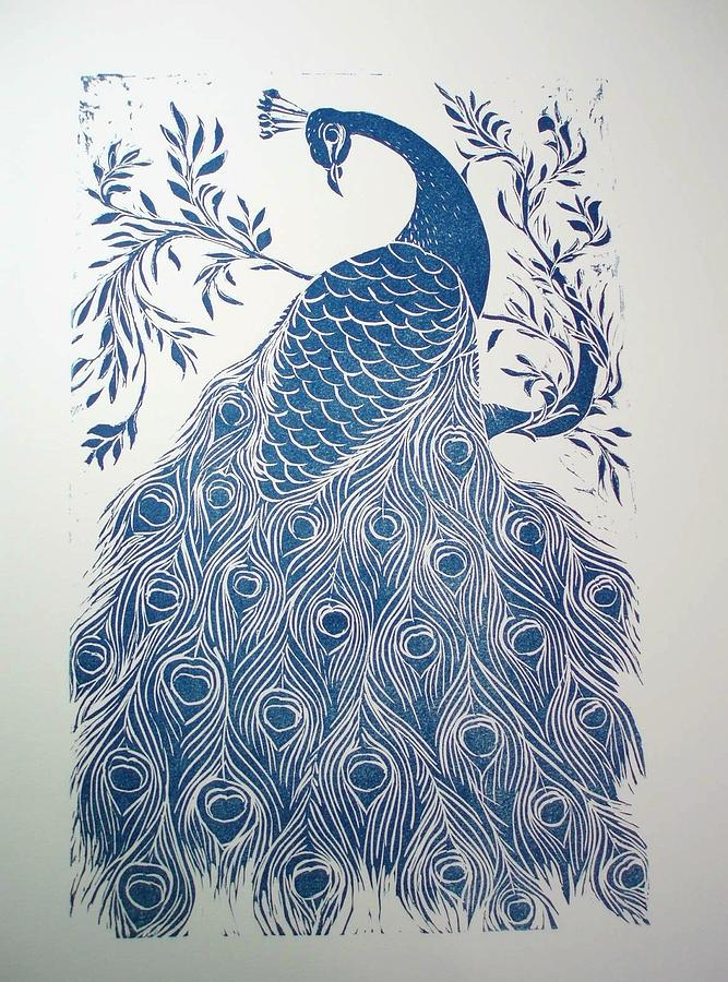 Exotic Bird Relief - Blue Peacock by Barbara Anna Cichocka