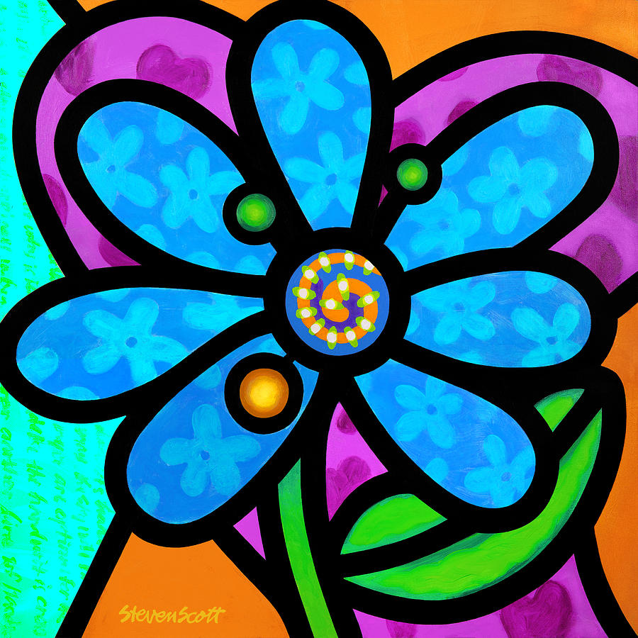 Blue Pinwheel Daisy by Steven Scott