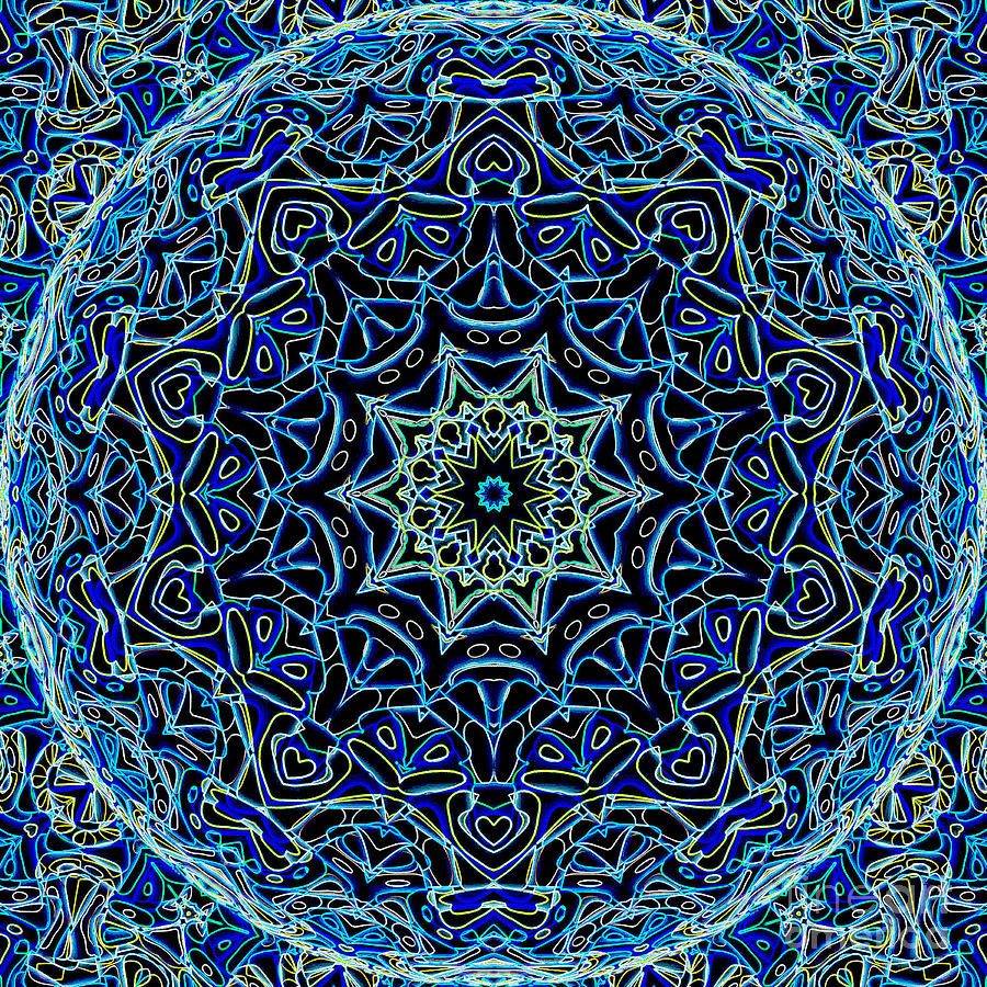 Abstract Digital Art - Blue Planet by Ron Brown