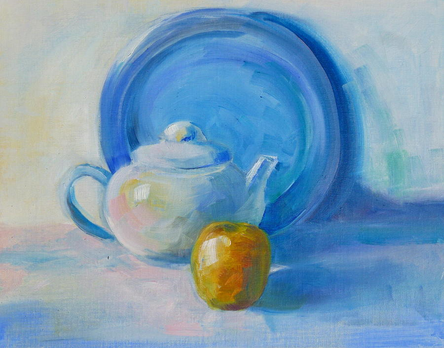 Blue Painting - Blue Plate Special by Valerie Lynch