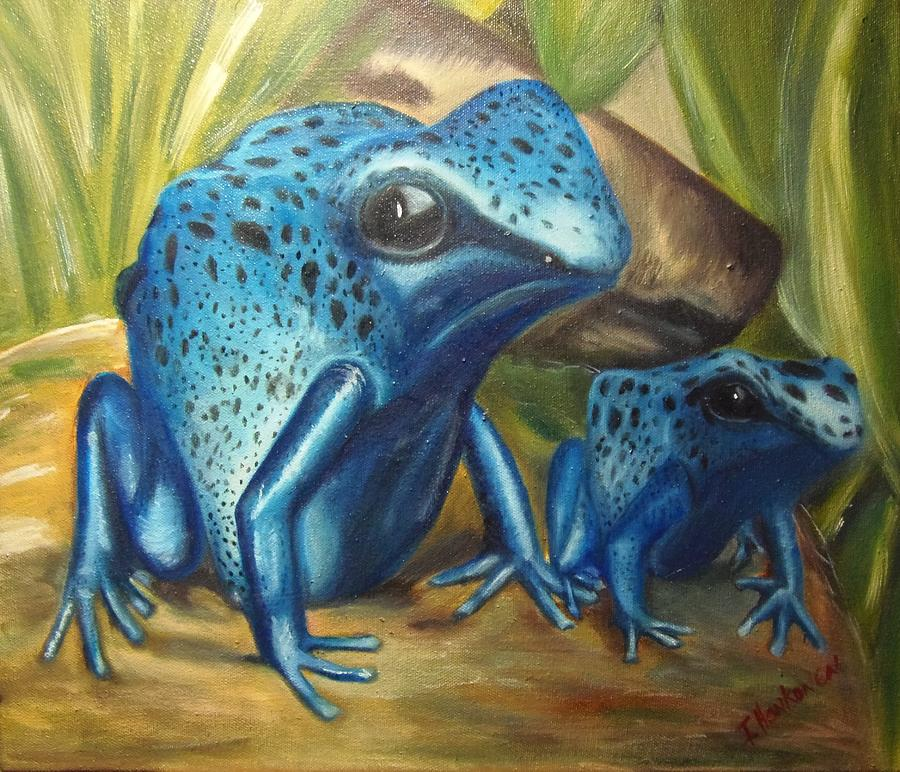 Poisonous Frogs Painting - Blue Poison Dart Frog by Isabel Honkonen