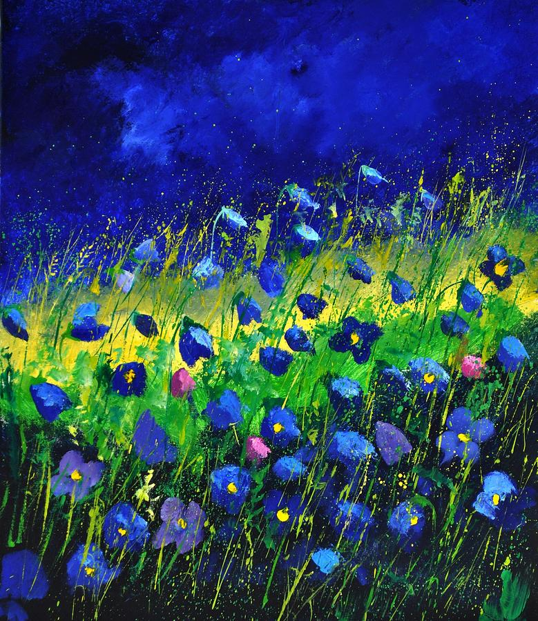 Landscape Painting - Blue poppies 674190 by Pol Ledent
