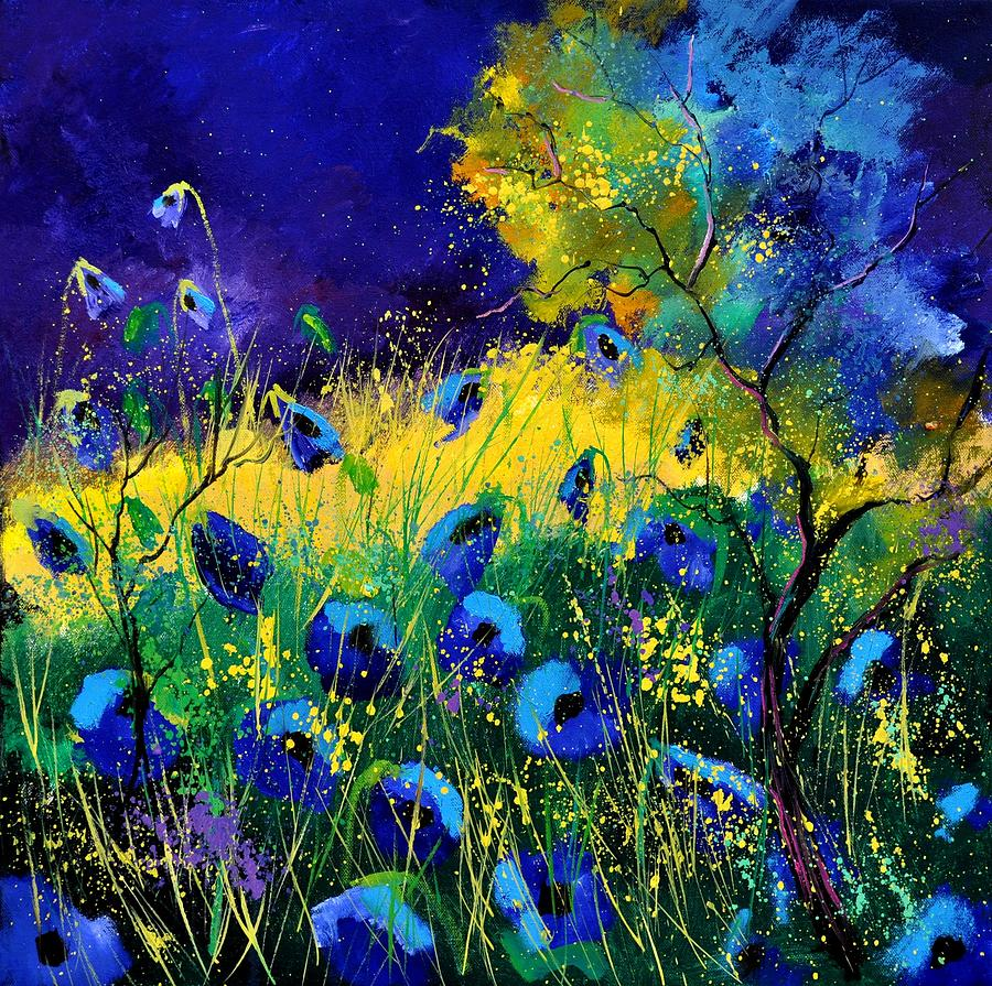 Landscape Painting - Blue poppies 7741 by Pol Ledent
