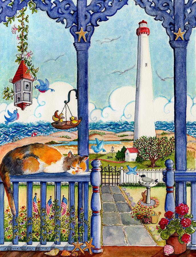 Light House Painting - Blue Porch With Cat by Deborah Burow