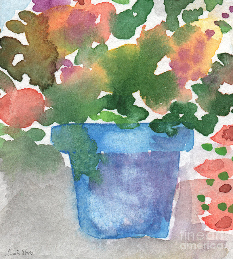 Watercolor Painting - Blue Pot Of Flowers by Linda Woods