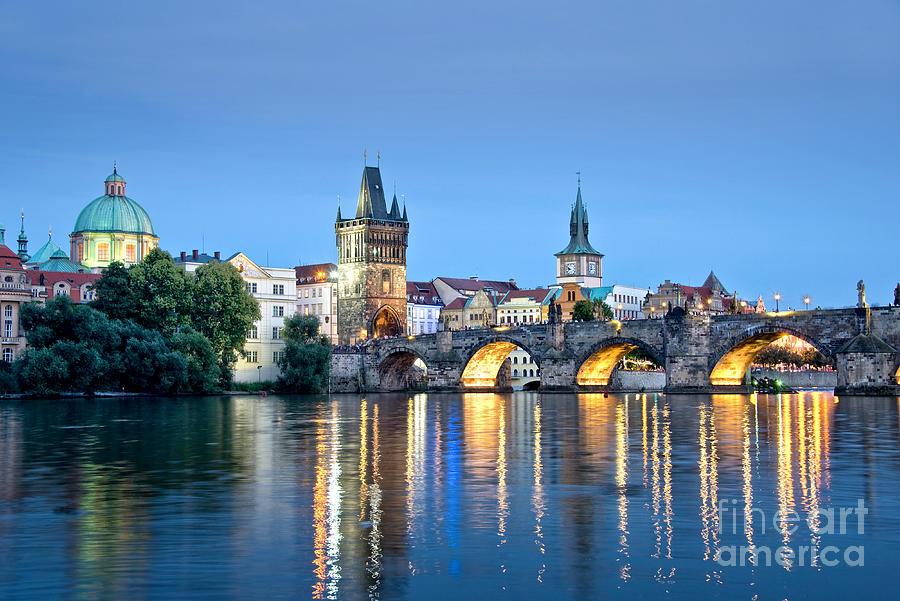 Prague Photograph - Blue Prague by Delphimages Photo Creations