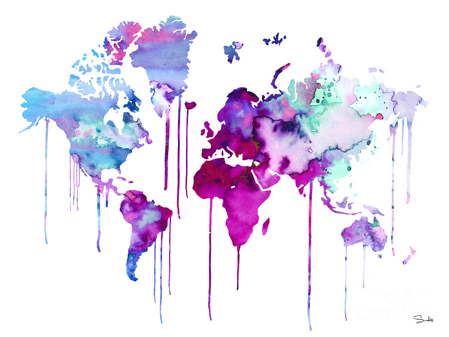 Blue Purple Watercolor Map Painting By Watercolor Girl