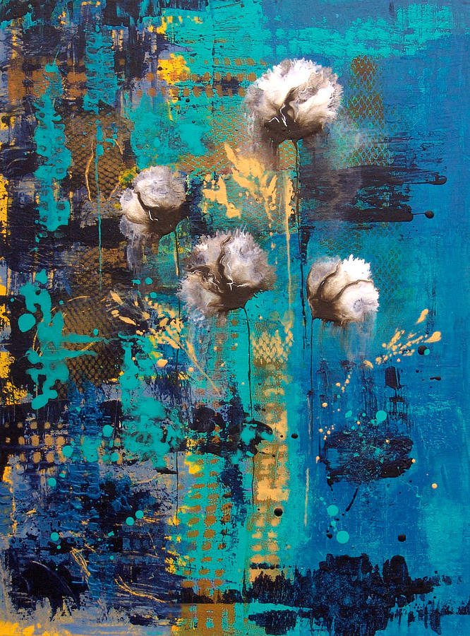 Blue Rain Abstract Flower Painting By Catherine Jeltes