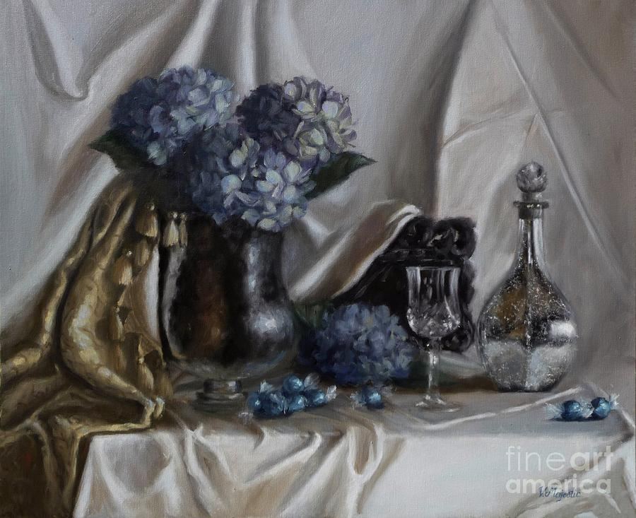 Dining Painting - Blue Reflections by Viktoria K Majestic