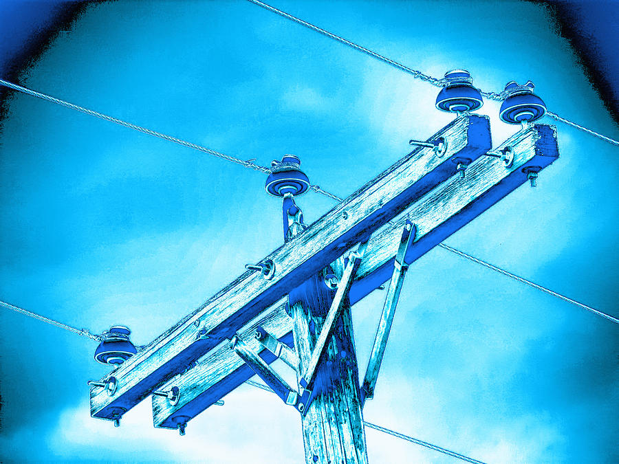 Telephone Photograph - Blue Relay by Wendy J St Christopher